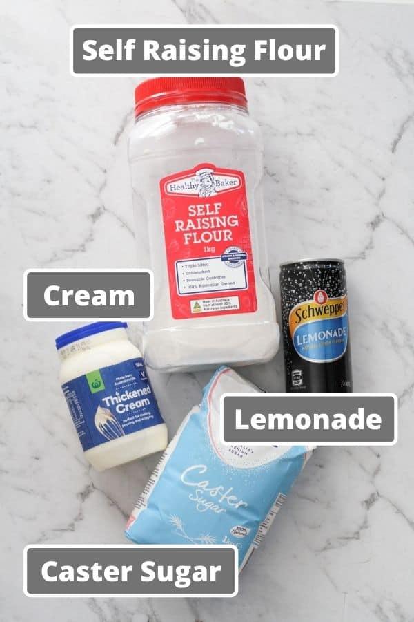ingredients for air fryer scones including lemonade and cream.