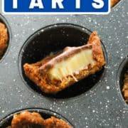 """a tart in a muffin tin with text overlay """"mini caramel tarts""""."""