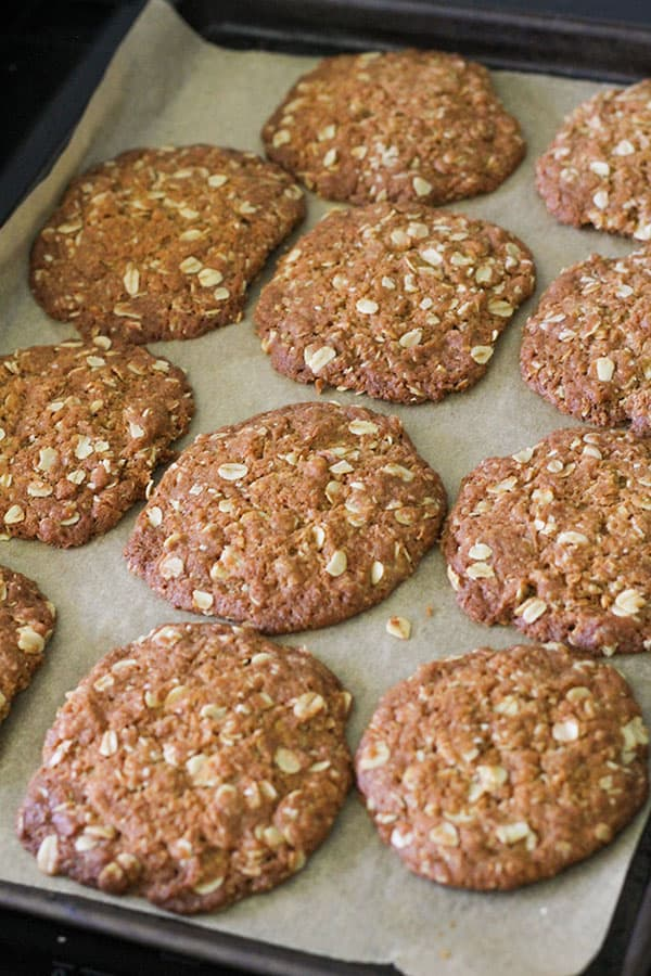 anzac biscuits fresh out of the oven.