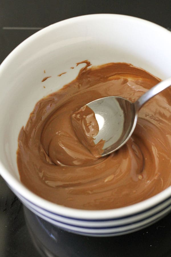 melted chocolate in a bowl.