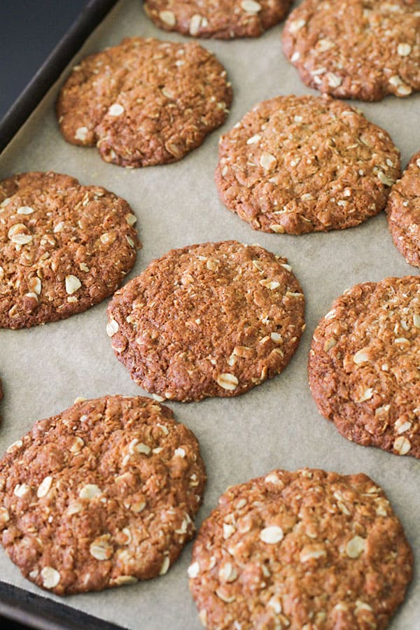 anzac biscuits on a tray.
